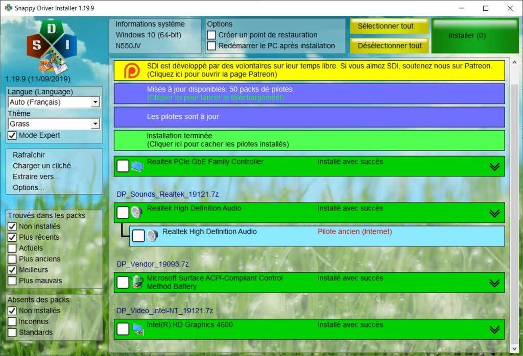 Snappy Driver Installer a mis à jour tous les pilotes obsolètes automatiquement. © sdi-tool.org