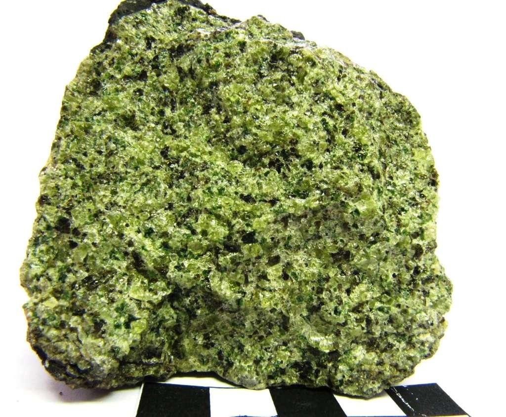 La lherzolite est une roche grenue se composant de 40 à 90 % d'olivine, qui lui donne sa couleur verte. Elle fait partie des péridotites, vaste famille composant une grande partie du manteau supérieur terrestre. (Plus précisément, cette image montre une enclave de péridotite de type lherzolite à spinelle dans une bombe basaltique.) © ENS Lyon