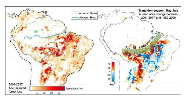 La mise en parallèle de la perte de forêt entre 2001 et 2017 (à gauche) et le changement de régime de feux durant l'inter-saison de mai-juin (à droite) suggère clairement une corrélation entre ces deux éléments. © Xiyan Xu