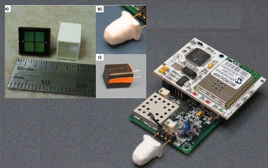 Le détecteur MiniSpec, à droite, combine un scintillateur (à gauche de l'image a) avec un capteur de lumière (à droite de l'image a), qui sont assemblés puis protégés à l'aide d'un ruban adhésif au Teflon (image c) et d'un cache pour occulter la lumière (b). © Oregon State University