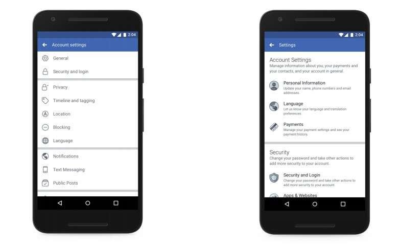 À gauche, l'écran des paramètres de l'application mobile Facebook tel qu'il existe aujourd'hui. À droite, sa nouvelle version « simplifiée ». © Facebook