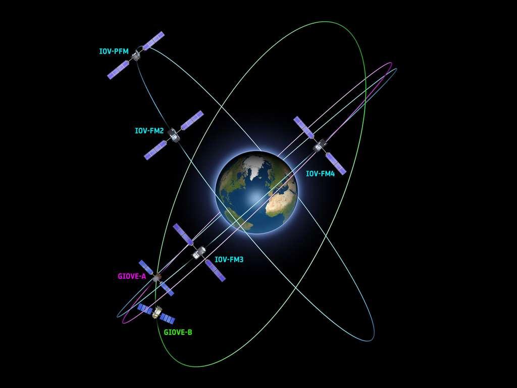 Les six satellites Galileo actuellement en orbite. Les prochains lancements sont prévus avant la fin de l'année 2013. Depuis le Centre spatial guyanais, deux lanceurs russes Soyouz mettront sur orbite, par paires, les satellites 5 à 8. © Esa, P. Carril