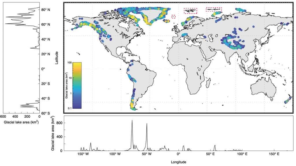 La carte globale des lacs glaciaires : leur volume (échelle colorée) et leur surface en fonction de la longitude et la latitude. © Dan H. Shugar et al. Nature Climate Change