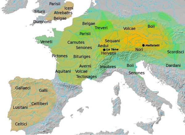 Une carte de l'Europe celtique à l'époque de la Tène. © DP