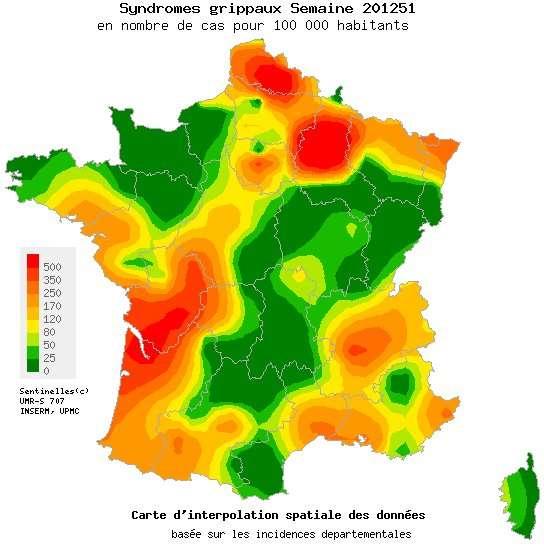 La carte des syndromes grippaux en France métropolitaine observés du 17 au 23 décembre 2012 par le réseau Sentinelles. Le niveau d'activité des syndromes grippaux devrait continuer d'augmenter cette semaine. © Réseau Sentinelles