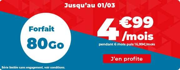Promo 80 Go à 4.99€ / mois © Auchan Télécom
