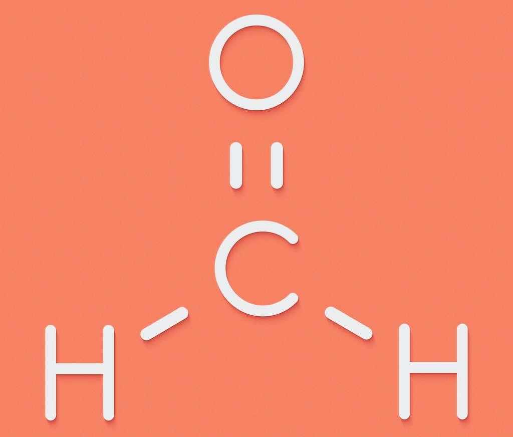 Le formaldéhyde est un aldéhyde de formule CH2O. © molekuul.be, Adobe Stock