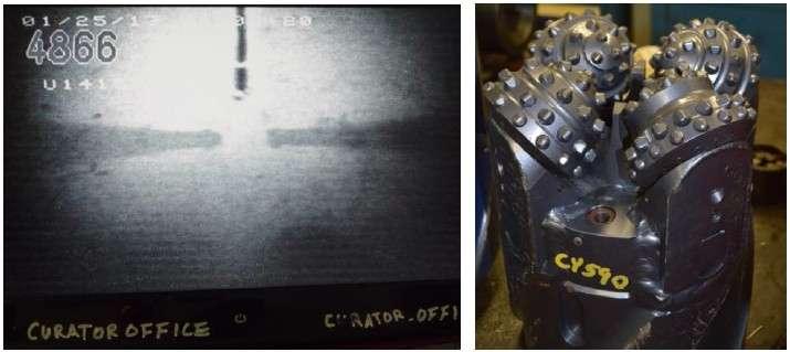 À gauche, la caméra montre l'ouverture d'un nouveau puits, U1415 P. Et à droite, le nouveau trépan prêt à forer le nouveau puits si l'installation du cône d'entrée est réussie. © Jean-Luc Berenguer, IODP