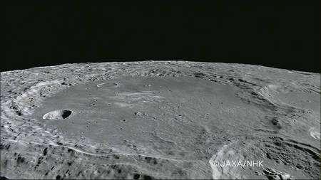 Le cratère Leibnitz vu par la sonde Kaguya. Crédit : Jaxa-NHK