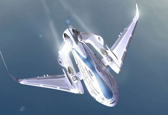 La « baleine volante » vue de dessus. Sa forme compliquée n'est peut-être pas optimale pour l'aérodynamisme. On remarque les ailes curieusement montées. En cas de crash, elles se briseraient et atténueraient le choc. Pourquoi pas ? Les réacteurs sont orientables pour diriger la poussée vers le bas au moment du décollage. © Oscar Viñals