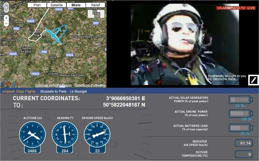 Vers 8 h 30, plus de 3 heures après le décollage, le HB-SIA était toujours aux alentours de la capitale belge. Sur cette capture d'écran du direct vidéo assuré sur le site de Solar Impulse, on voit les zigzags de l'avion, à gauche. En fait, l'appareil est en train de monter. Son altitude, indiquée sous l'image, est de près de 3.500 mètres. La vitesse par rapport au sol est de 23 km/h. À droite, les indicateurs montrent le bilan d'énergie. La puissance délivrée par les cellules est encore faible (24 % par rapport au maximum) mais les batteries sont déjà plus qu'à moitié chargées. © Solar Impulse