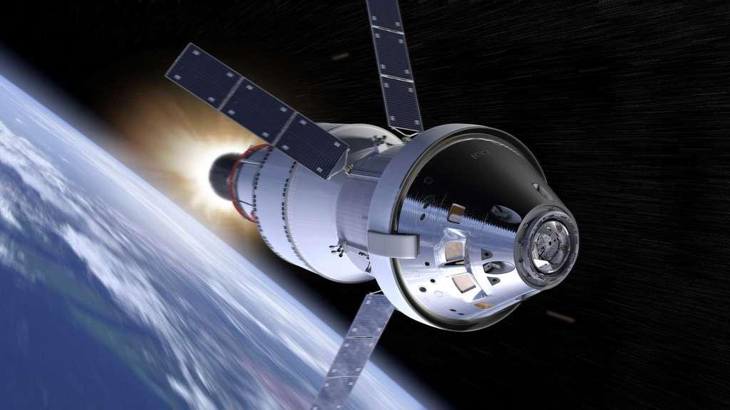 Le véhicule Orion avec, à l'arrière, l'étage supérieur EUS qui sera utilisé pour l'amener d'une altitude de 160 kilomètres à une orbite elliptique avec un apogée de quelque 35.000 km et un périgée de 15.000 km. © Nasa