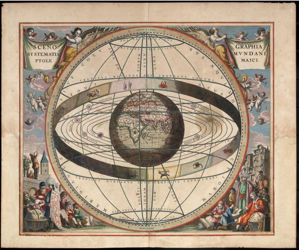 Le système géocentrique de Ptolémée. © NLA, Wikipedia, Domaine public