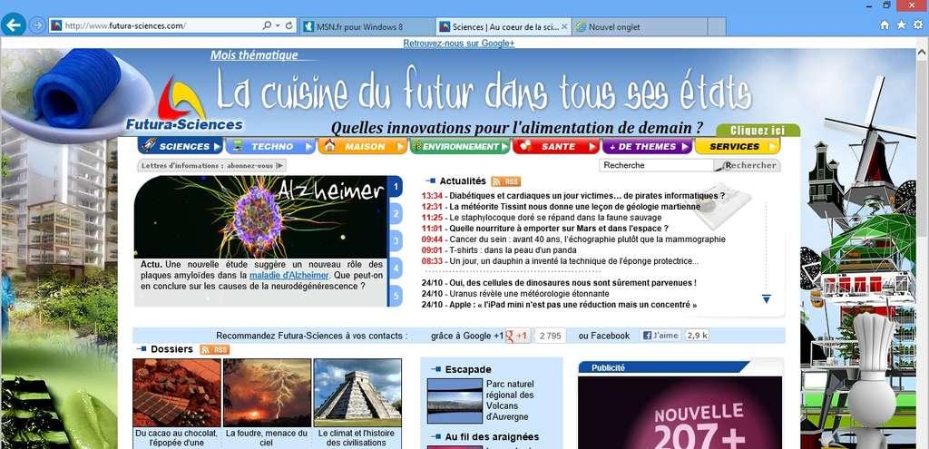 Les utilisateurs d'IE 8 et IE 9 ne seront pas dépaysés avec la version Bureau d'Internet Explorer 10, très semblable aux deux déclinaisons précédentes du navigateur de Microsoft. © Eureka Presse