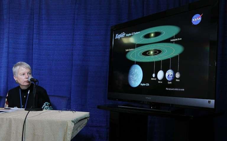 Jill Tarter lors de la présentation de la nouvelle planète découverte Kepler-22b, au centre Ames de la Nasa, le 5 décembre 2011, à Moffett Field, en Californie. © Justin Sullivan, Getty, AFP, Archives