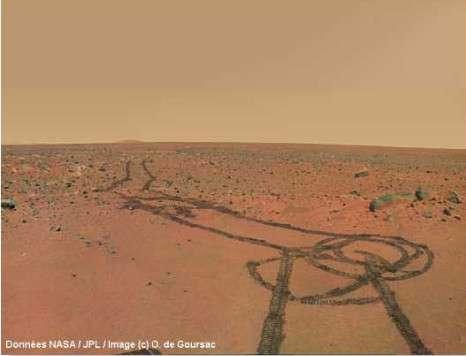 Représentation des corrections nécessaires des couleurs de Mars. © Données Nasa/JPL / Images © O. de Goursac
