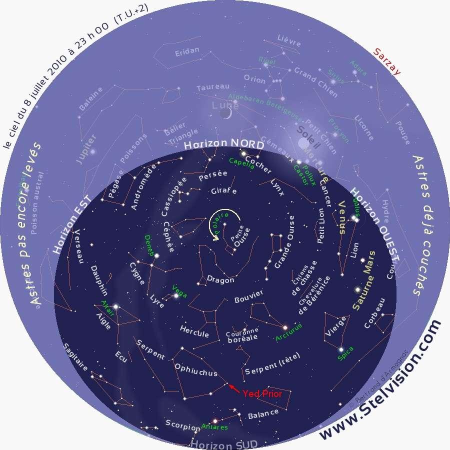 Aspect du ciel le 8 juillet en soirée. L'étoile Delta Ophiuchi (ou Yed Prior) se trouve au-dessus de l'horizon sud. Crédit Stelvision.com