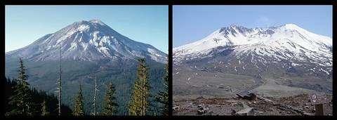 Le mont Saint Helens avant et après l'éruption de 1980. © Nasa/USGS & Gripso Banana Prune