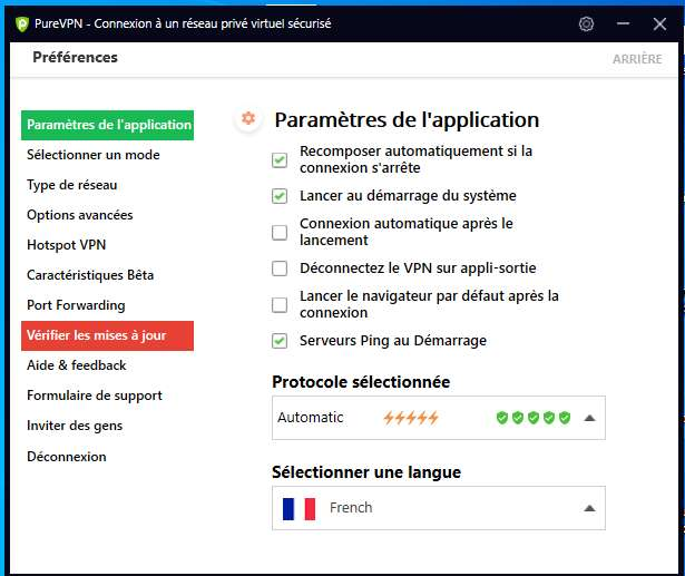 Paramétrages de l'application PureVPN. © PureVPN