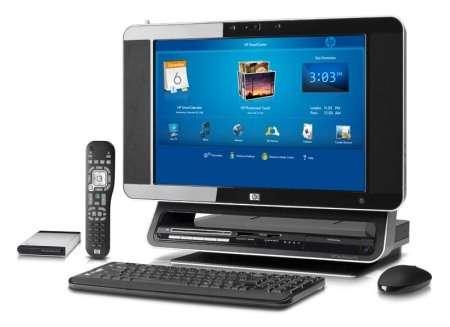 Windows Vista, télécommande, écran plat pivotant, touches dédiées à la retouche photo et fonctions Media Center : le HP TouchSmart PC est furieusement tendance. Crédit : HP