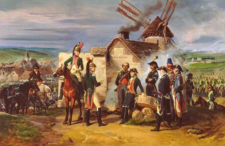 Le duc de Chartres, futur roi Louis Philippe, et son frère, le duc de Montpensier, rendent compte de la bataille de Valmy au maréchal de Rochambeau, près du moulin de Saint-Sauve, le 20 septembre 1792. © Peinture d'Éloi Firmin Féron, ministère de la Défense, Wikimedia Commons, DP