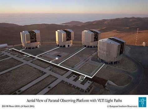 Le VLT et ses 4 télescopes.