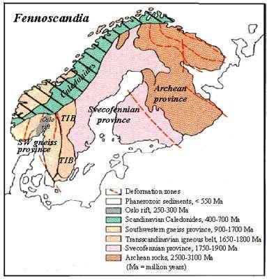 Carte géologique simplifiée de la Scandinavie. © Geological Survey of Finland