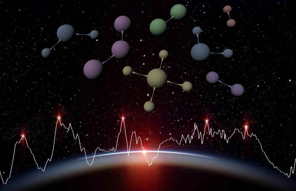 La lumière de l'étoile hôte d'une exoplanète observée par Ariel est filtrée par l'atmosphère de la planète qui se trouve sur la ligne de visée entre le télescope et l'étoile. Ariel détectera ainsi les molécules présentes dans les atmosphères de 1.000 exoplanètes grâce à des observations spectroscopiques : la lumière est dispersée à la façon d'un arc-en-ciel, et permet de mesurer la luminosité émise en fonction de la longueur d'onde ; on peut alors repérer des raies caractéristiques des atomes et molécules connues sur Terre. Ces observations permettent de déduire la composition chimique, la température et la pression dans l'atmosphère de la planète observée. © ESA, C. Carreau, ATG medialab