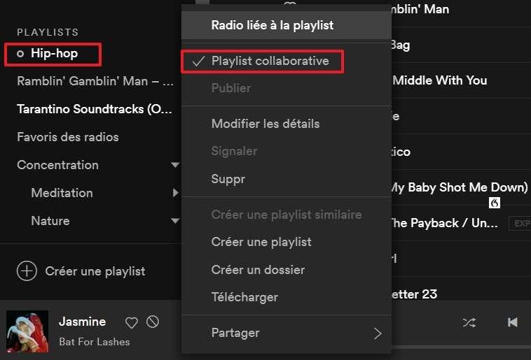 Donnez la permission à vos proches d'ajouter ou supprimer des titres dans votre playlist en la rendant collaborative. © Spotify AB