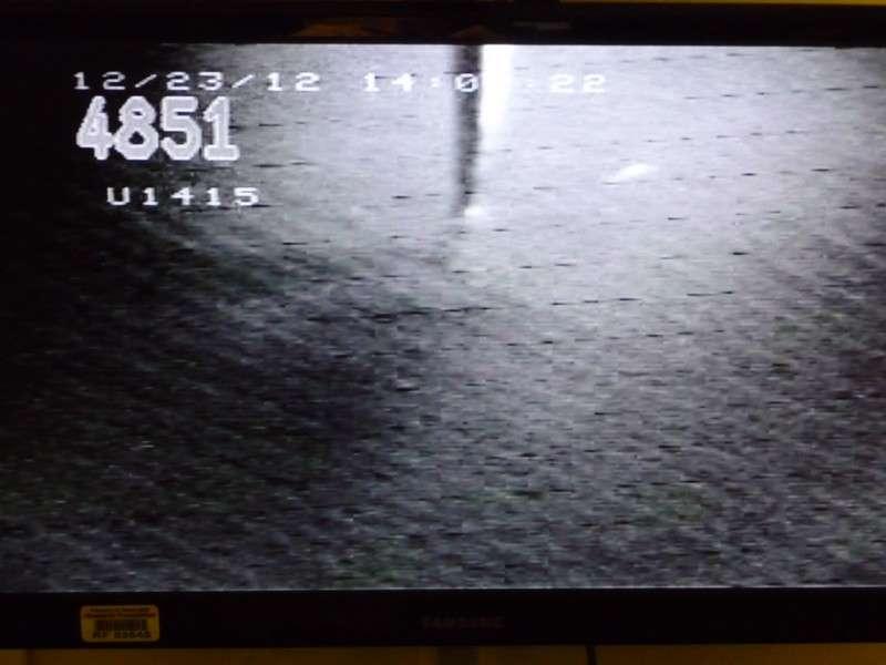 Une capture d'écran de la transmission vidéo que reçoivent les scientifiques à bord du JOIDES Resolution lors de la descente des tiges. © Jean-Luc Berenguer