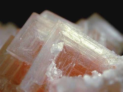 Stries de croissance sur cristal de sel.