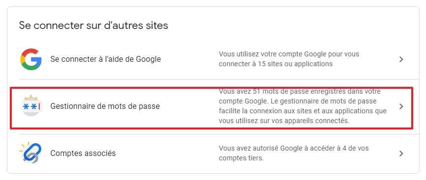 Allez dans le gestionnaire de mots de passe. © Google Inc.