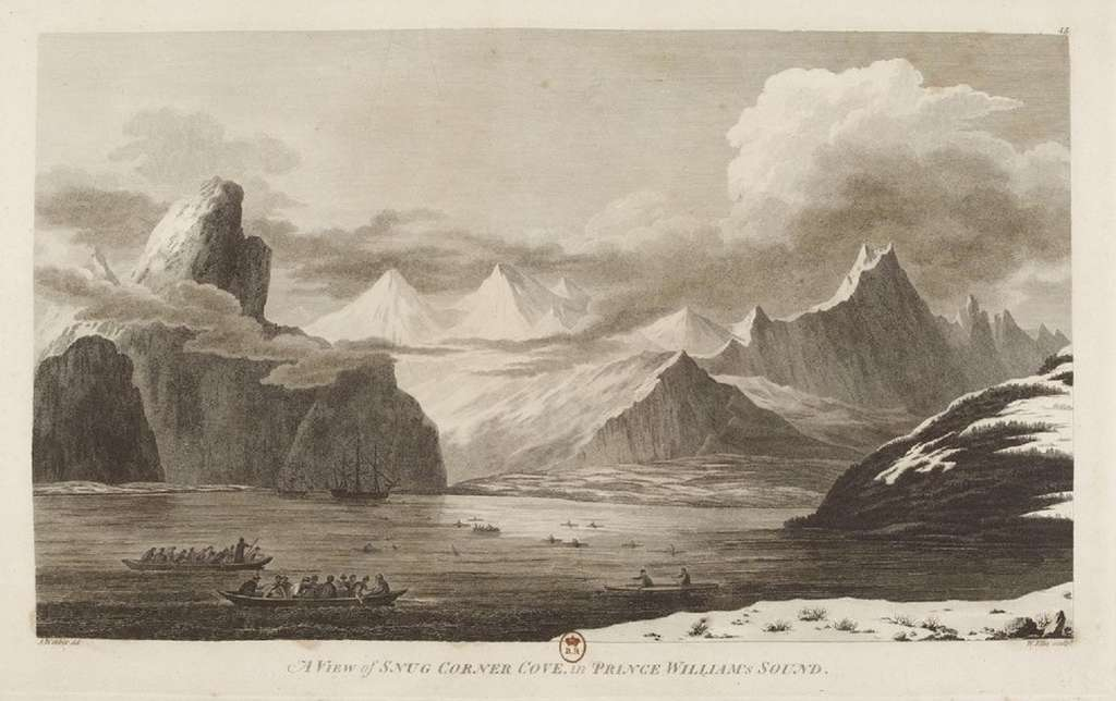 Baie du Prince William en Alaska, dans « L'Atlas du troisième voyage de James Cook », de John Webber, Londres, 1784. © Gallica, Bibliothèque nationale de France