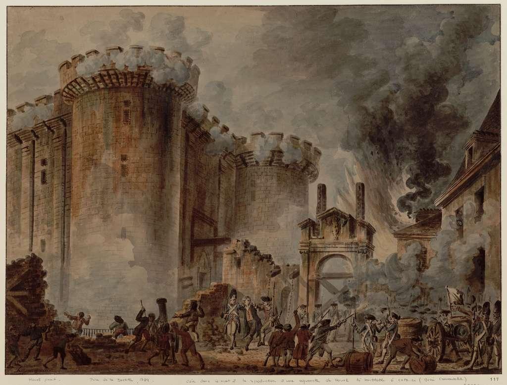 Prise de la Bastille, 14 juillet 1789, par Jean-Baptiste Houël ; arrestation du gouverneur au centre du tableau. Bibliothèque nationale de France. © gallica.bnf.fr / BnF.