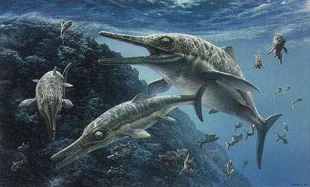 Des ichtyosaures, selon John Sibbick. © John Sibbick