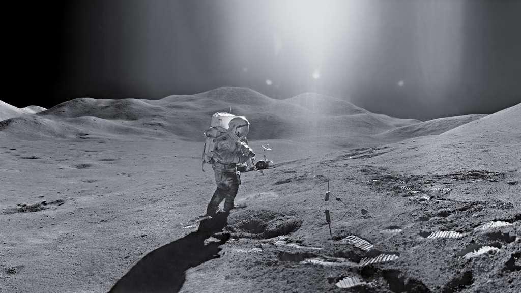 Apollo 15 est reconnue par la Nasa comme la plus belle de toutes les missions habitées. Le paysage montagneux aidant, les astronautes ont pu prendre des photos exceptionnelles sur la Lune. © Images Nasa/JSC, Retraitements Olivier de Goursac. Tous droits réservés
