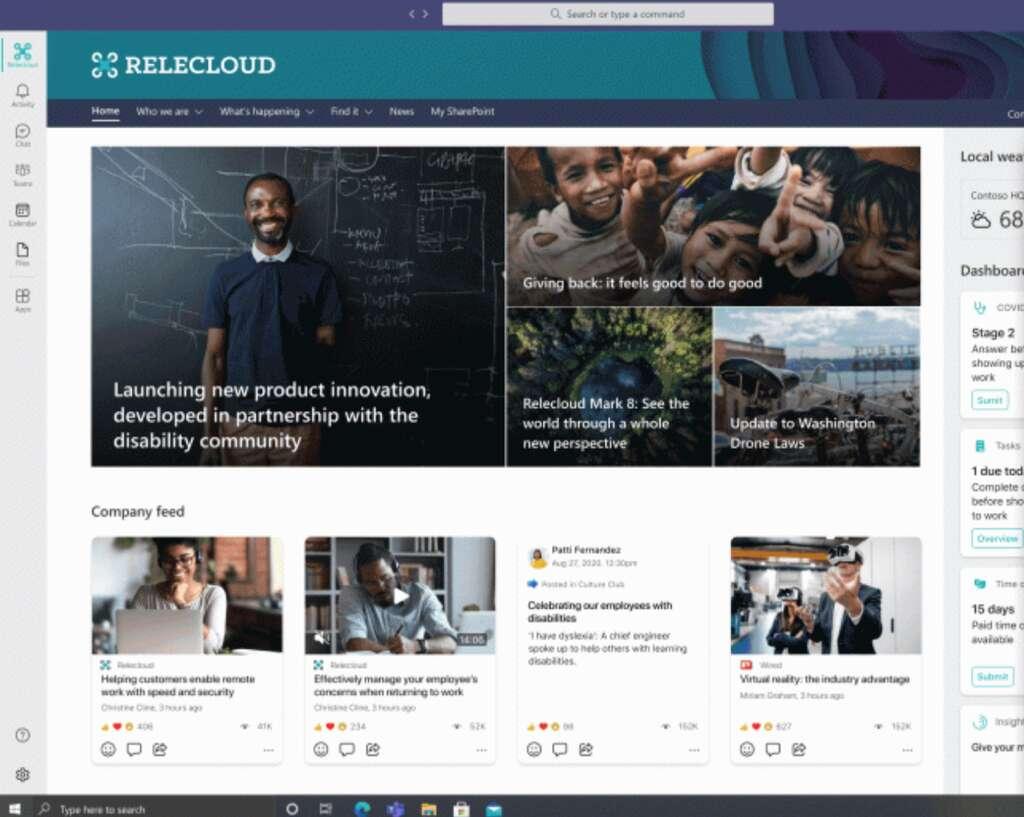 Les outils de Viva s'affichent dans une barre verticale à gauche. © Microsoft