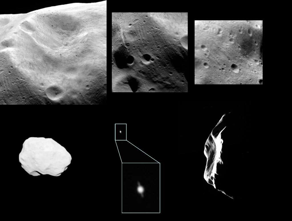 La région que l'on suppose la plus récente. Les striures ainsi qu'une vue de Saturne dans le champ et l'adieu à Lutetia sont les images qui caractérisent le mieux le survol.