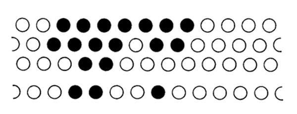 Le pattern, ou image cochléaire, est composé d'éléments discrets (ou pixels), de répartition linéaire pour le système cilié interne, spatial pour le système cilié externe. Comme chaque capteur n'occupe qu'une petite surface du champ, l'analyse de la forme membranaire cochléaire est obtenue par un découpage spatial de l'image. © Roland Carrat - Tous droits réservés
