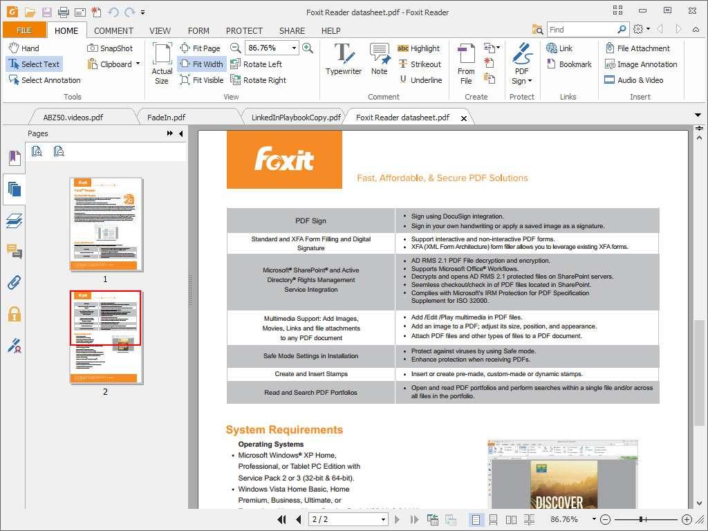 Foxit Reader intègre un éditeur de texte complet pour annoter et compléter vos PDF. @ Foxit Software Incorporated