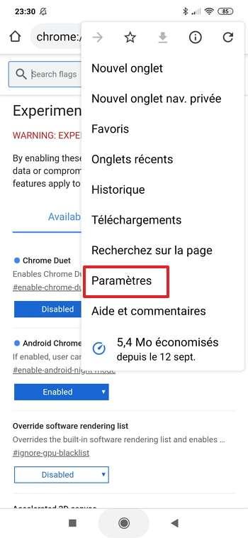 Accédez aux paramètres de Chrome. © Google Inc.