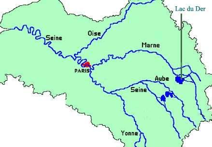 Carte des grands lacs de Seine destinés à réguler son débit