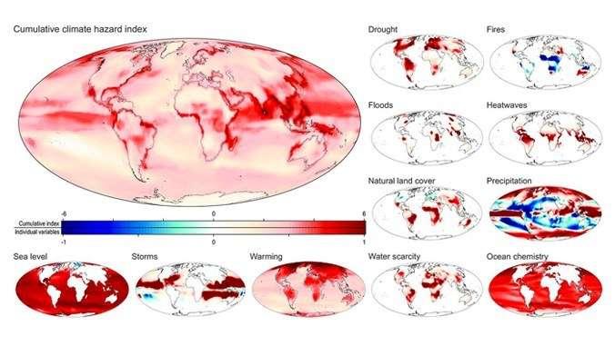 D'ici la fin du siècle, certaines régions du monde pourraient avoir à faire face à des catastrophes climatiques multiples. Sur cette illustration, une carte présentant les probabilités d'occurrence de plusieurs aléas simultanés parmi les sécheresses (drought), les incendies (fires), les inondations (floods), les vagues de chaleur (heatwaves), les précipitations, les tempêtes (storms), la montée du niveau de la mer (sea level), la hausse des températures (warming), pénuries d'eau (water scarcity), acidification des océans (ocean chemistry) ou encore la couverture naturelle des sols (natural land cover). © Université d'Hawaï