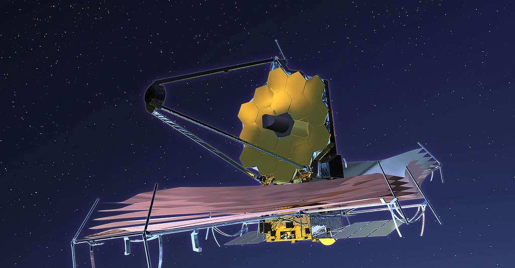 Dessin d'artiste du télescope James-Webb (JWST). © Nasa, Wikimedia commons, DP