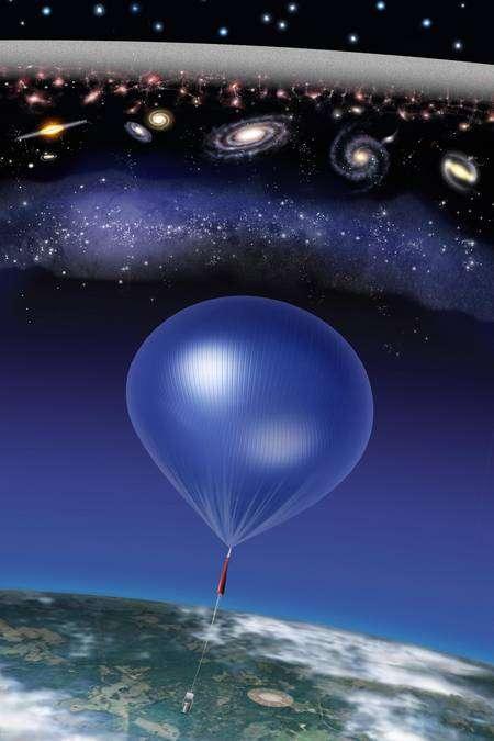 Une vue d'artiste du ballon de la mission Arcade voguant dans la stratosphère à l'écoute de la naissance des premières étoiles. Crédit : NASA/ARCADE/Roen Kelly