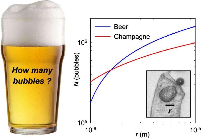 Plus la taille des anfractuosités du verre sont grandes, plus le nombre de bulles augmente dans la bière par rapport au champagne. © ACS Omega 2021, 6, 14, 9672-9679