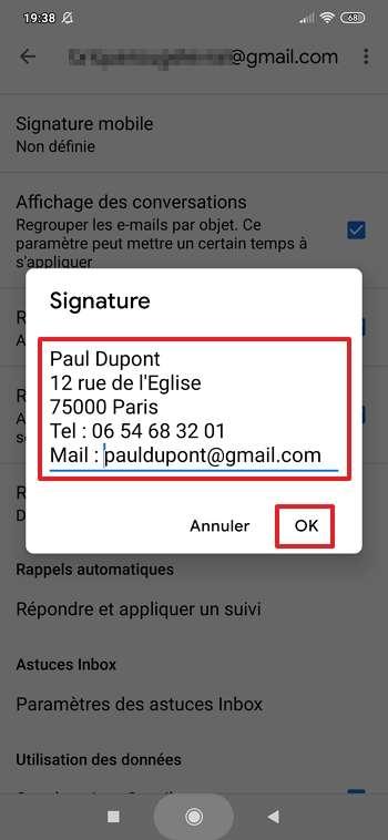 Renseignez votre signature et appuyez sur « OK ». © Google Inc.
