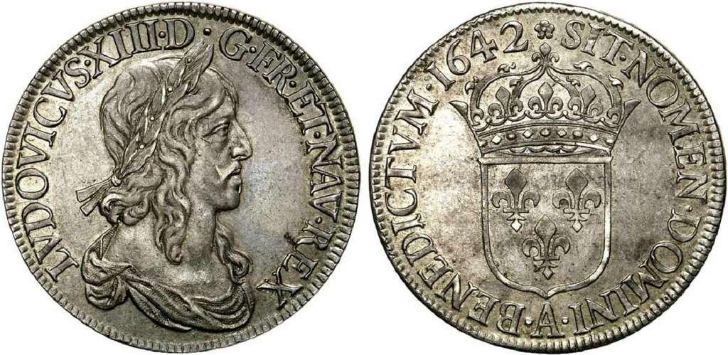 Écu d'argent de Louis XIII, frappé en 1642 ; premier poinçon de Warin, monnaie de Matignon, Paris. © Wikimedia Commons, domaine public.