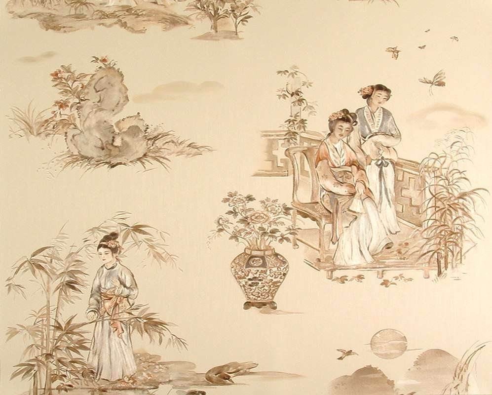 Scène de genre japonisante, d'aspect délicatement satiné. Grammage 200 g/m2. Raccord droit de 80 cm. Lavable, bonne résistance à la lumière, peut se détacher à sec. Rouleau de 0,53 x 10,05 m (32,30 €). Collection Hermitage n° 120. © Color24