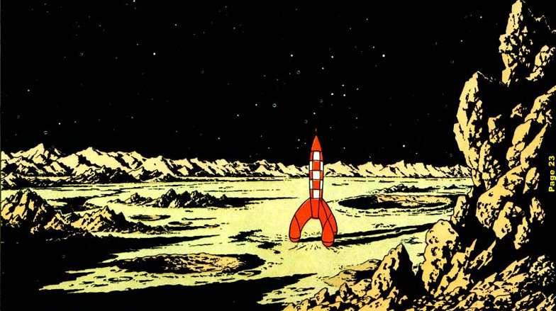La célèbre fusée rouge de « On a marché sur la Lune ». © Hergé/Casterman